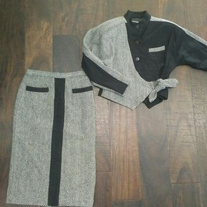 Vintage 80s Nicco skirt and jacket dress-y suit. S